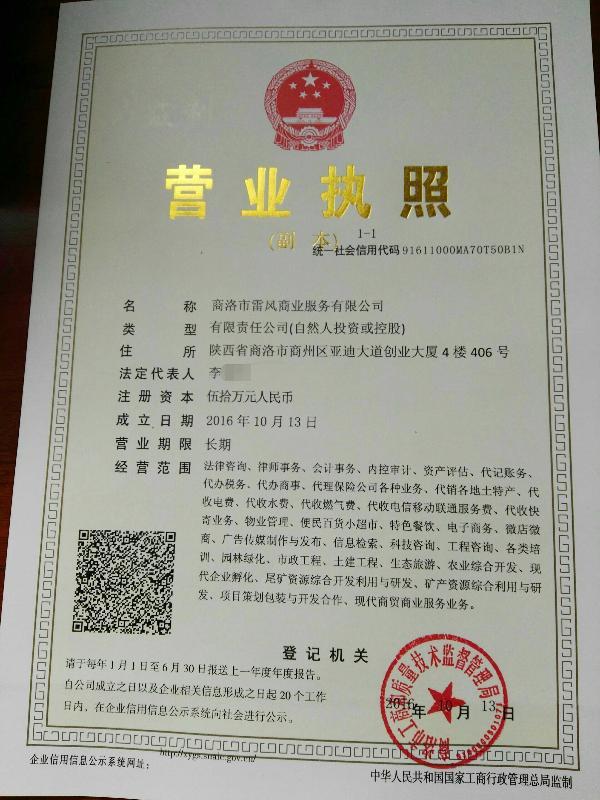陕西雷风商业服务有限责任公司