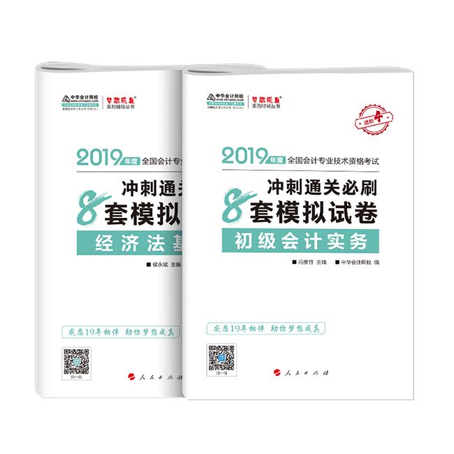 """2019年初级会计职称两科""""梦想成真""""系列丛书冲刺通关必刷8套模拟试卷"""